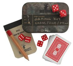 Game Kit - Everything you need to play cards, roll dice or scratch your own game on the waterproof score pad is in the tin. We've included the rules for our favorite dice game Man-or-Moose, the best revealer of a man's character!
