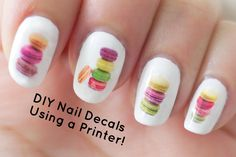 DIY Nail Art Decals Using a Printer THIS IS SOOO AMAZING CANT WAIT TO TRY IT MYSELF ! AND PRINT A GIANT SHEET! you'll always have unique nails with this <3