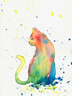 Bright Colourful Cat print from Watercolour Painting Watercolor Art
