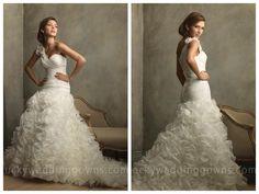 Organza One Shoulder Ruffles Floral Ball Gown Vintage Wedding Dresses