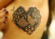 Love this lace heart tattoo, it would be an amazing shoulder blade tattoo.