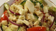 Mozzarella Cous Cous Salad Couscous Salad, Pasta Salad, Health Meals, Vegetable Stock, Salad Dressing, Mozzarella, Cucumber, Potato Salad, Vegetables