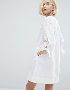 Native Youth Minimal A-Line Dress With Tie Sleeve Details - White