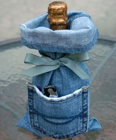 Blue jean wine bottle cover
