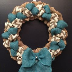 Chevron and Turquoise Burlap Wreath by BeyondtheBurlap on Etsy