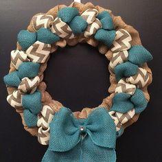 Chevron and Turquoise Burlap Wreath by BeyondtheBurlap on Etsy