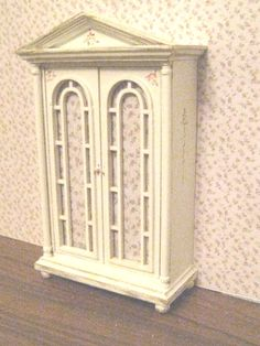 Linen Or Toy Cupboard, Distressed White With Rose Bouquets, Twelfth Scale…