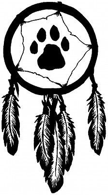 Dream Catcher Wolf Print Decal (6''h x 4''w (in) Black, choose color.)