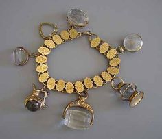 1860-1890 Late Victorian charm bracelet with crystal watch fobs