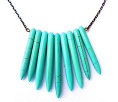 Bib necklace Turquoise stone tone necklace Howlite spear necklace tribal necklace bib necklace statement necklace. $5.00, via Etsy.