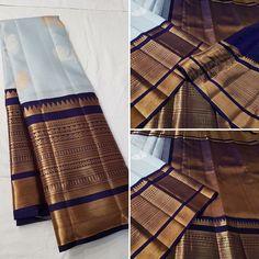 Online shopping from a great selection at Clothing & Accessories Store. Indian Bridal Sarees, Wedding Silk Saree, Indian Saris, Kanjivaram Sarees Silk, Kanchipuram Saree, Half Saree Designs, Sari Blouse Designs, Simple Sarees, Trendy Sarees
