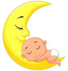 Cute baby cartoon sleeping on the moon vector by tigatelu on VectorStock®