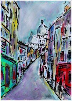 Original Places Painting by Jean Mirre Paris Painting, City Painting, Original Paintings, Original Art, Montmartre Paris, City Art, French Artists, Abstract Landscape, Paper Art