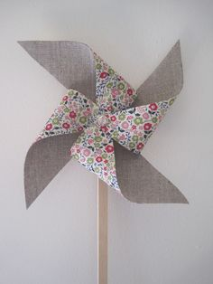 ❤ grey linen/liberty fabric windmill