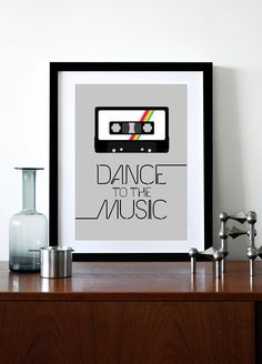 @Ari Simon fam  Retro poster print retro typography cassette 70s 80s music cassette tape kitchen art office - Dance To The Music 2 A3. $29.00, via Etsy.