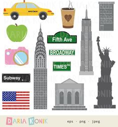 New York Clip Art Set-city clipart, America, USA, travel clipart, Chrysler Building, Empire State Building, eps, png, jpeg, instant download by dariakonik on Etsy https://www.etsy.com/listing/253713383/new-york-clip-art-set-city-clipart
