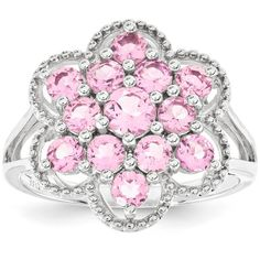 Sterling Silver Pink Tourmaline Flower Ring ($97) ❤ liked on Polyvore featuring jewelry, rings, sterling silver, fancy rings, flower jewelry, sterling silver jewellery, blossom jewelry and sterling silver flower ring