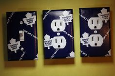 Toronto Maple Leafs 3 pc Set Light Switch Socket Cover boy room child decor NHL