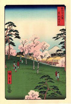 Woodblock print Japanese Ukiyoe Hiroshige Asuka Hill...