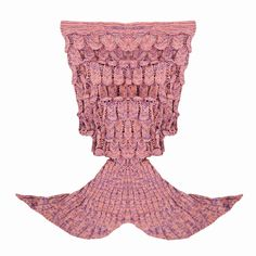 iEFiEL Coral Pink  Handcrafted Knitted Mermaid Tail Blanket Sleeping Bag for…