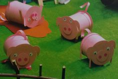 3d knutsel: varkens Preschool Arts And Crafts, Crafts For Kids, Summer Camp Activities, Farm Day, Pink Day, Pig Farming, Three Little Pigs, Vacation Bible School, Farm Theme
