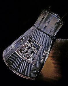 "Mercury Capsule MA-6 ""Friendship 7."" On February 20, 1962, John H. Glenn Jr. became the first American to orbit the Earth in this spacecraft."