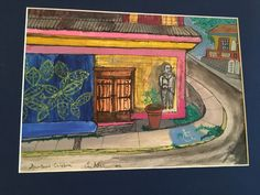 This is a watercolor of a building in Downtown Culebra