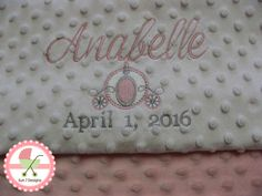 Custom designed personalized Minkee baby blankets and other baby products by www.sun7designs.com