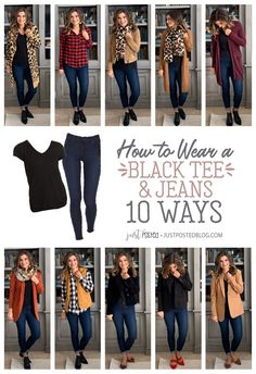 How to Style a Black tee and Jeans 10 Different Ways - Perfect for a Capsule Wardrobe! How to Style a Black tee and Jeans 10 Different Ways - Perfect for a Capsule Wardrobe! Black Tees, Look Fashion, Winter Fashion, Fashion Outfits, Korean Fashion, Black Tee Outfit, T-shirt Und Jeans, Casual Outfits, Cute Outfits