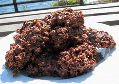No Bake Chocolate Haystack Cookies from Food.com:   								So good and easy to make! My siblings and I made huge batches of these cookies Sunday afternoons, and they were usually gone by Tuesday! The time for boiling the mixture is listed at 5 minutes, but if you cook it a little less, the cookies are chewier.