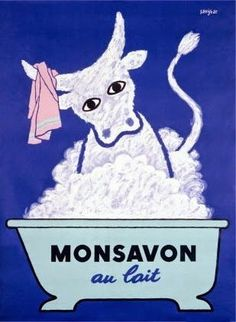 Poster Print Wall Art Print entitled Monsavon Au Lait, Vintage Poster, by Raymond Savignac Posters Vintage, Vintage Advertising Posters, Retro Poster, Poster Ads, Vintage Advertisements, Poster Prints, Pub Vintage, French Vintage, Vintage Clocks