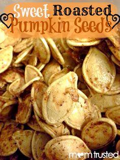 Yummy Roasted Pumpkin Seeds - Preschool Activities and PrintablesPreschool Activities and Printables Roasted Pumpkin Seeds, Roast Pumpkin, Baked Pumpkin, Pumpkin Spice, Seeds Preschool, Preschool Activities, Yummy Snacks, Yummy Food, Pumpkin Seed Recipes