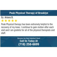 Peak Physical therapy has been extremely helpful to the recovery of my knee. I continue to...