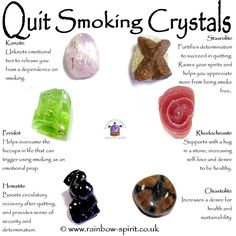 My crystal healing poster showing some of the crystals with properties to support those quitting smoking