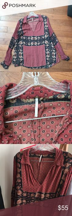 Free people blouse (NO TRADES) free people long sleeved blouse Free People Tops Blouses