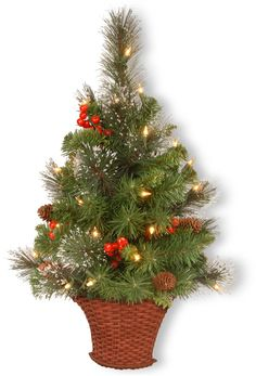 National Tree CW7-306-3HT-B 3' Crestwood Spruce Half Tree with Silver Bristle, Cones, Red Berries, Glitter in a Basket with 50 Warm White Battery Operated LEDs