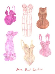 Jean Paul Gaultier, illustration by Leah Reena Goren Lingerie Illustration, Beauty Illustration, Fashion Images, Fashion Art, Fashion Design, Jean Paul Gaultier, Pink Bling, Technical Drawing, Illustrations Posters