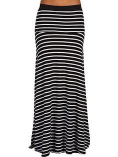 black and white striped maxi skirt -- wear with black tank top or spaghetti strap :)