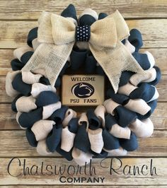 Penn State Burlap Wreath PSU Nittany Lions by ChatsworthRanchCo