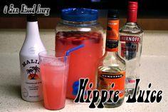 Hippie Juice: country time pink lemonade, smirnoff watermelon vodka, malibu coconut rum, triple sec, strawberries