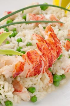 Brown Butter Risotto with Lobster - very good Added asparagus pieces near end of cooking risotto.  Used white wine instead of brandy.  Shrimp would work well too.