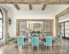 Laurel Pfannenstiel Interior Desgin (House of Turquoise) Dining Area, Dining Chairs, Dining Rooms, Room Chairs, Spanish Colonial Homes, Living Comedor, House Of Turquoise, Decoration, Great Rooms