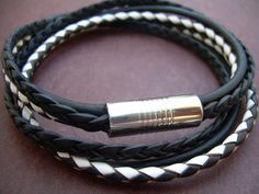 Mens Black and White Triple Strand Double by UrbanSurvivalGearUSA, $26.99