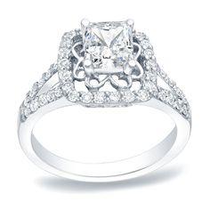 Auriya Platinum 1ct TDW Princess Cut Diamond Engagement Ring (H-I, SI1-SI2)