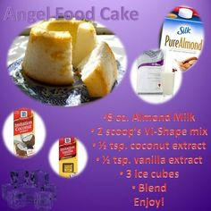 This angel food cake protein shake is deeeelicious! You can find the recipe at: my-body-by-vi.com...