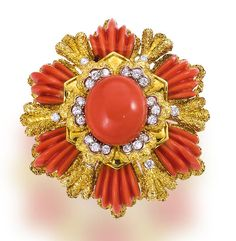 A coral and diamond pendant brooch, Wander, French designed as a flower, centering a coral cabochon, surrounded by ribbed coral petals, within textured mount, accentuated with round brilliant-cut diamonds; signed Wander, France, with French assay mark; estimated total diamond weight: 1.65 carats; mounted in eighteen karat gold