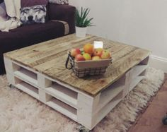 Pallet Coffee Table 'LEMMIK XL' (100cmx90cm) Farmhouse Style - Reclaimed & Distressed Wood
