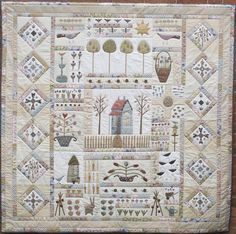 in my garden bom - Hatched and Patched by Anni Downs  This looks just like an antique reproduction sampler. Love it!