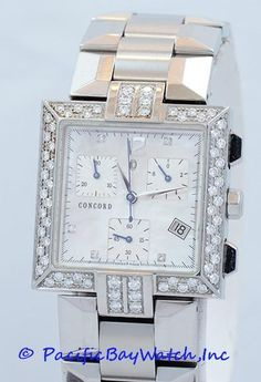 Condition:Preowned Gender: Ladies Dial Color: Mother of Pearl with Diamonds Case: Stainless Steel 30mm x 30mm Bracelet: Stainless Steel Bezel: Stainless Steel