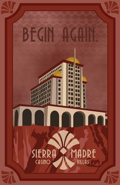 A travel poster inspired by the Sierra Madre Casino from the Dead Money DLC in Fallout New Vegas, where you can begin again.   ABOUT THIS PIECE::. This is an original print measuring 12 x 18 inches (30½cm x 45¾cm). Frame not included.  DETAILS::. All prints are professionally processed with vivid high quality ink on heavy matte paper. Prints are lined with a one inch white border. Some prints may be available in other sizes. Please message to inquire.  SHIPPING::. Prints are processed and…